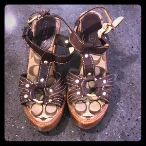 Dark brown Coach wedges